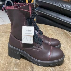 ZARA LEATHER COMBAT BURGUNDY LACE-UP ANKLE BOOTS 9